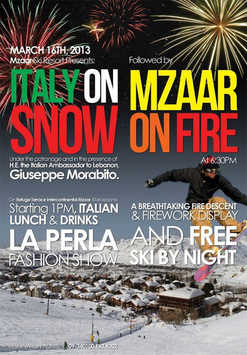 Italy on snow and Skiing In Mzaar by night
